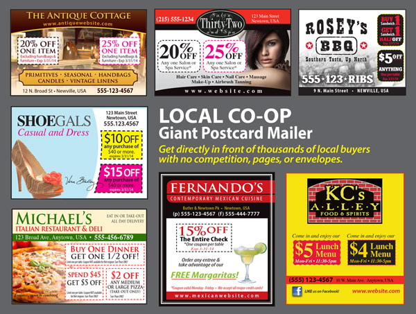 Sample postcard co-op mailer with 7 ads and a message.