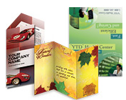 Image of 2 styles of brochures and a flyer/card