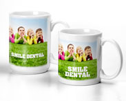 Image of 2 mugs with kids laying donw leaning on elbows