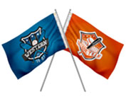 picture of 2 flags on short poles. One blue the other orange.
