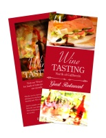 Image of a rack card, front and back for Wine Tasting.