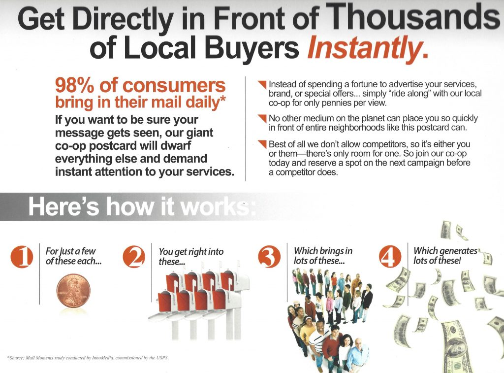 information on an image of a sample 9x12 card explaining the benefits of a postcard co-op mailer.